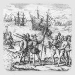 Christopher Columbus  receiving  gifts Square Sticker