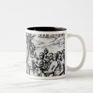 Christopher Columbus  receiving  gifts Two-Tone Coffee Mug