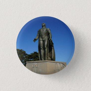 Beach Themed Christopher  Columbus Statue Pinback Button