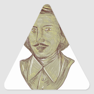 Christopher Marlowe Bust Drawing Triangle Sticker
