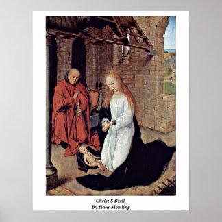 Christ'S Birth By Hans Memling Poster