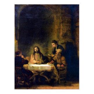 Christus en Emmaus de Rembrandt Tarjetas Postales