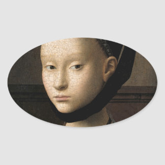 (Christus) Portrait of a Young Girl (1465-1470) Oval Sticker