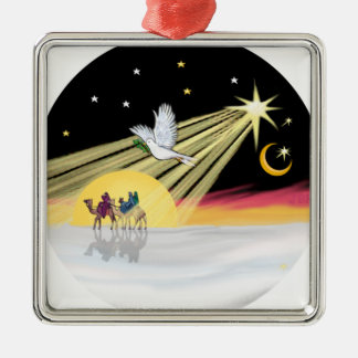 Chritmas Dove Square Metal Christmas Ornament
