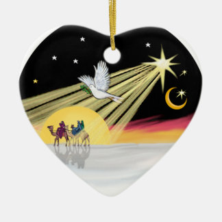 Chritmas Dove Double-Sided Heart Ceramic Christmas Ornament