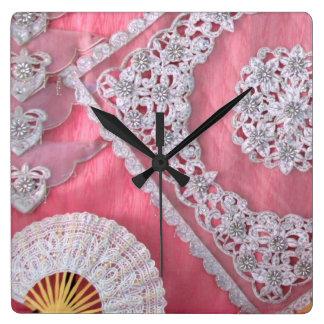 Chrochet and Bead work Square Wall Clock
