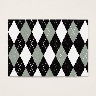 Chromatic Argyle black, grey, white Business Card