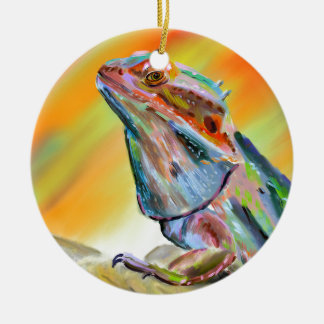 Chromatic Bearded Dragon Digital Paint Ceramic Ornament