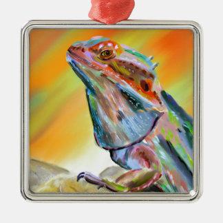 Chromatic Bearded Dragon Digital Paint Metal Ornament