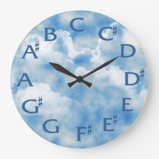 Chromatic Music Scale in Cloudy Blue Sky Large Clock