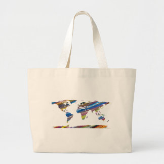 Chromatic World Map Large Tote Bag