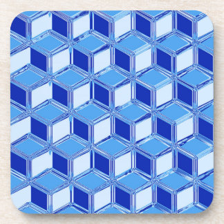 Chrome 3-d boxes - cobalt blue beverage coaster