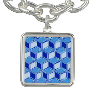 Chrome 3-d boxes - cobalt blue bracelet