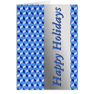 Chrome 3-d boxes - cobalt blue card