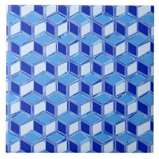 Chrome 3-d boxes - cobalt blue ceramic tile