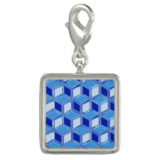 Chrome 3-d boxes - cobalt blue charm