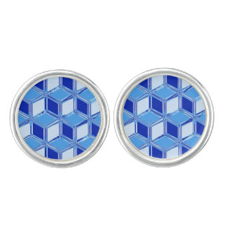 Chrome 3-d boxes - cobalt blue cufflinks