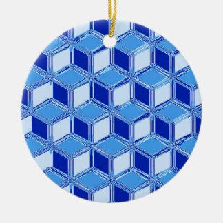 Chrome 3-d boxes - cobalt blue Double-Sided ceramic round christmas ornament