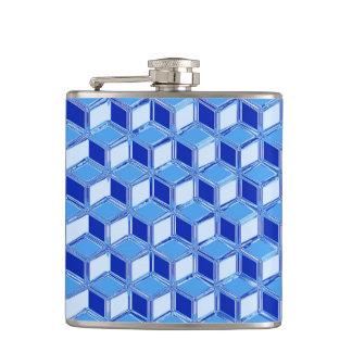 Chrome 3-d boxes - cobalt blue hip flasks