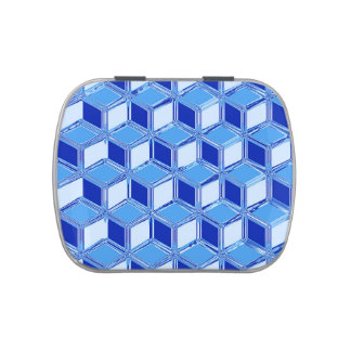 Chrome 3-d boxes - cobalt blue jelly belly candy tin