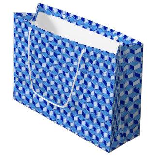 Chrome 3-d boxes - cobalt blue large gift bag
