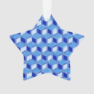 Chrome 3-d boxes - cobalt blue ornament