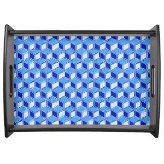 Chrome 3-d boxes - cobalt blue serving tray