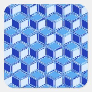 Chrome 3-d boxes - cobalt blue square stickers