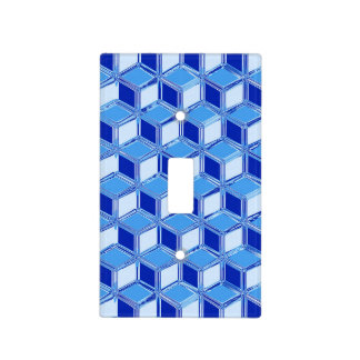 Chrome 3-d boxes - cobalt blue switch plate cover