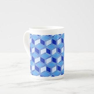 Chrome 3-d boxes - cobalt blue tea cup