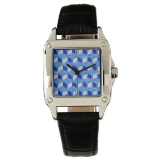 Chrome 3-d boxes - cobalt blue wrist watch