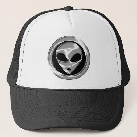 CHROME ALIEN HEAD TRUCKER HAT