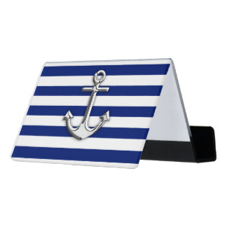 Chrome Anchor Nautical Navy Blue Stripes graphics Desk Business Card Holder