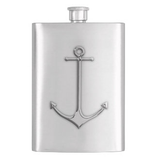 Chrome Anchor Nautical Print Hip Flask