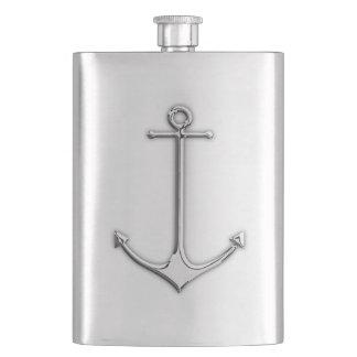 Chrome Anchor Nautical Print Hip Flask