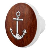 Chrome Anchor on Nautical Mahogany Grain Print Ceramic Knob