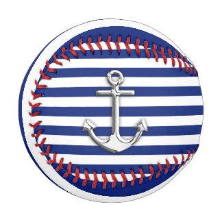 Chrome Anchor on Nautical Navy Blue Stripes Print Baseball