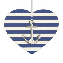 Chrome Anchor on Nautical Navy Blue Stripes Print Car Air Freshener