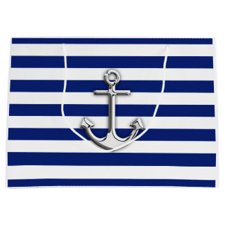 Chrome Anchor on Nautical Navy Blue Stripes Print Large Gift Bag