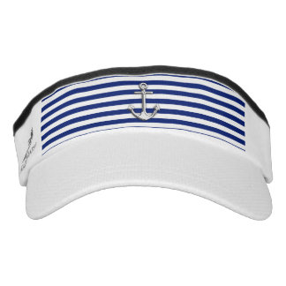 Chrome Anchor on Nautical Navy Blue Stripes Print Headsweats Visor