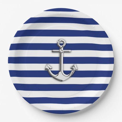 chrome anchor on nautical navy blue stripes print paper plate zazzle. Black Bedroom Furniture Sets. Home Design Ideas
