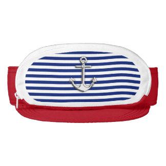 Chrome Anchor on Nautical Navy Blue Stripes Print Visors
