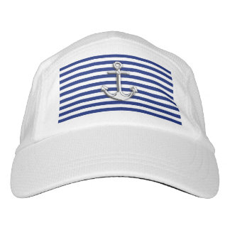 Chrome Anchor on Nautical Navy Blue Stripes Print