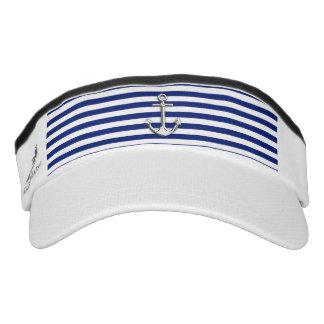 Chrome Anchor on Nautical Navy Blue Stripes Print Headsweats Visors