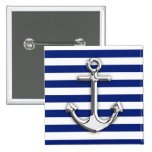 Chrome Anchor on Navy Stripes 2 Inch Square Button