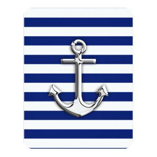 Chrome Anchor on Navy Stripes Card