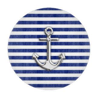 Chrome Anchor on Navy Stripes Cutting Board