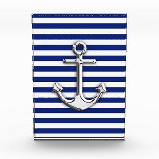 Chrome Anchor on Navy Stripes Decor Award