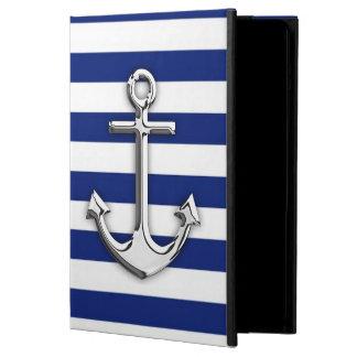 Chrome Anchor on Navy Stripes Decor iPad Air Cover