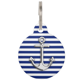 Chrome Anchor on Navy Stripes Pet Name Tags